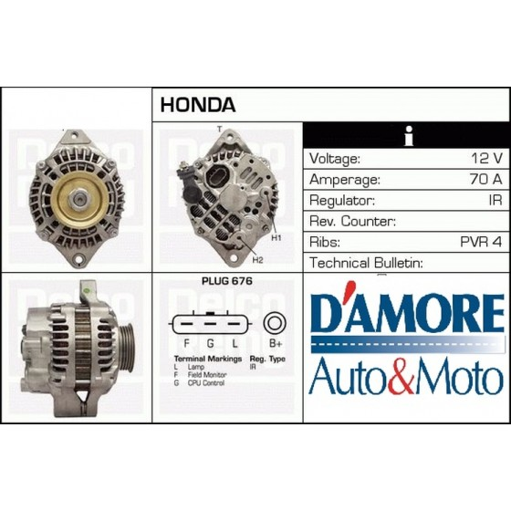 ALTERNATORE HONDA ACCORD VIII CIVIC VII CR-V III 2.2 CTDi 103KW 12V 130A